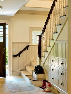 10 Blindsiding Tips: Craftsman Wainscoting Door Casing types of wainscoting home.Wainscoting Mirror Board And Batten wainscoting panels stairways. Storage Under Staircase, Space Under Stairs, Stair Storage, Stair Drawers, Storage Drawers, Foyer Storage, Closet Storage, Basement Storage, Storage Units