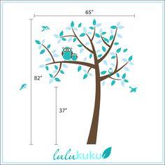 Owl Tree - Girl Baby Owl Nursery Theme - Nursery Wall Decals to match Owl Bedding. $72.00, via Etsy.