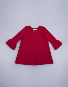 Warm red coat for girls with bell cuffs and a wooden button made from warm melton wool-like fabric Kids Clothing, 6 Years, Boy Or Girl, Kids Outfits, Cuffs, Bell Sleeve Top, Warm, Button, Stylish