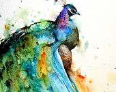 PEACOCK Extra Large Watercolor Print By Dean Crouser. $125.00, via Etsy.