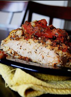 Healthy Baked Bruschetta Chicken Recipe In 45 Minutes! With Flour, Large Eggs, Boneless Skinless Chicken Breasts, Grated Parmesan Cheese, Croutons, Butter, Tomatoes, Fresh Basil, Garlic Cloves, Extra-virgin Olive Oil, Pepper, Salt