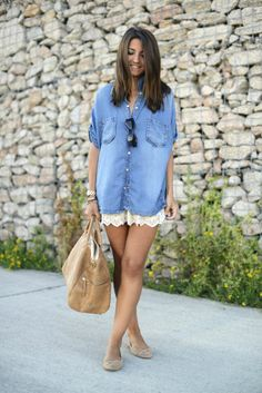 Gorgeous denim long shirt with lace short skirt and camel leather hand bag  and pumps Lace 6cfa6e993