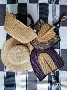 Colourful fan for the modern traveler West Africa, Single Piece, Head Wraps, Straw Bag, Minimalist, Fan, Modern, Color, Style