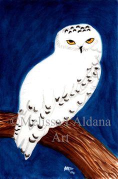 Watercolor Original Snowy Owl1