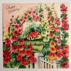 547 best vintage greetings birthday images on pinterest in 2018 beautiful flowers arch perk thru house vintage birthday greeting card m4hsunfo
