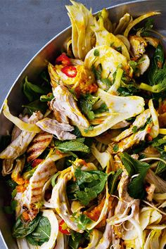 This amazing saffron chicken and herb salad from Ottolenghi's recipe book, Jerusalem is extraordinarily moist and refreshing. Saffron Chicken, Ottolenghi Recipes, Herb Salad, Easy Dinners, Japchae, Herbs, Healthy, Ethnic Recipes, Food