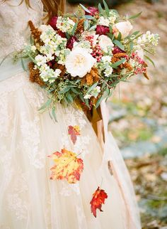 Falling Leaves - A Harvest Bouquet in Red and Gold | Archetype Studio | heyweddinglady.co...