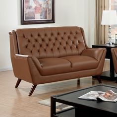 Contemporary Style Camel Bonded Leather Loveseat CM603CL-LV