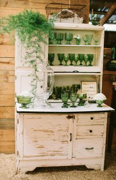 green and white - stemware and hoosier from Southern Vintage