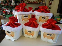 Upcycled Ornament - Santa's made from recycled plastic ice cream containers