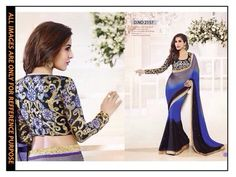 blue black ambroidery georgette  party wear saree with blouse Sarees on Shimply.com