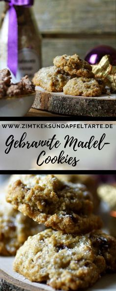 einfache Backmischung für gebrannte-Mandel-Cookies Great gift from the kitchen for Christmas: Baking mix for burnt almond cookies with recipe for burnt almonds and the cookies – simply, quickly and deliciously gift for Christmas Xmas Desserts, Cookie Desserts, Chocolate Desserts, Cookie Recipes, Baking Cookies, Xmas Food, Christmas Baking, Cookie Time, Almond Cookies