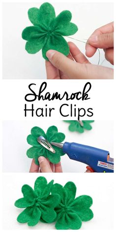 Don't get pinched this year for not wearing green! These shamrock DIY hair bows are a fun way to make St. Patrick's Day crafts AND slip a little green in your wardrobe for March via patricks day ideas diy Shamrock Hair Clip Diy Hair Bows, Making Hair Bows, Diy Bow, Diy Hair Clips, Saint Patrick, Mason Jar Crafts, Mason Jar Diy, St Patricks Day Hair Bows, Bow Tutorial