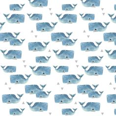 Smaller Whale Pod with Triangles fabric by taraput on Spoonflower - custom fabric