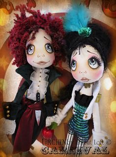 Alla and Kazoo Urchin Carnival Collection Art Doll by lilliputloft