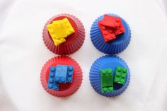Items similar to Edible sugar fondant building bricks blocks cake cupcake toppers decorations kids party Yellow/Blue/Green/Red on Etsy Happy Parents, Parents As Teachers, Lego Cupcakes, Fondant Cupcakes, Pop Photos, Marshmallow Fondant, Homemade Marshmallows, Be A Nice Human, Edible Art