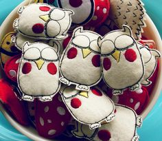 owls -- buy or DIY.  Would make darling hand warmer stuffed with rice.  Think stocking stuffers.