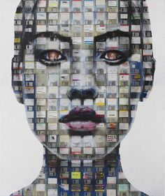Nick Gentry creates these amazing portrait paintings & art pieces by recycling obsolete media, such as floppy disks, or film negatives as his canvasses and media.