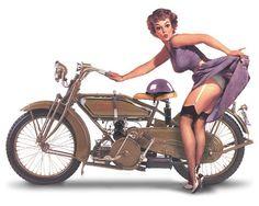 vintage Harley Davidson & Pin Up. Harley Davidson Vintage, Pin Up Vintage, Photo Vintage, Vintage Models, Pin Up Girls, Moda Pinup, Dibujos Pin Up, Up Auto, Vintage Indian Motorcycles