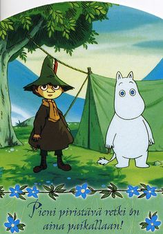 """""""A little refreshing excursion is always right"""". Snufkin and Moomin from The Moomin. One of my fav tv series as a kid :) and I still like them :) Tove Jansson, Les Moomins, Moomin Valley, Enchanted Doll, Little My, Cute Characters, Anime, Animation, Vintage Postcards"""