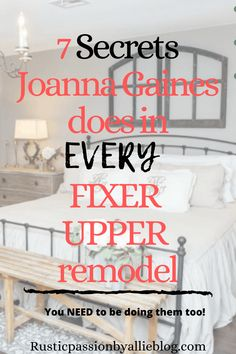 7 secrets Joanna Gaines does in every fixer upper remodel. If you want to decorate just like Joanna gaines does & look like a pro decorator these tips will help you! I love the neutral decor that she uses in your entryway, living room, kitchen, and… Dream Master Bedroom, Rustic Master Bedroom, Bedroom Decor, Master Bedrooms, Bedroom Ideas, Headboard Ideas, Modern Bedroom, Bedroom Wall, Master Bath
