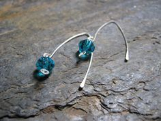 Sterling Silver Earwires with Ocean Blue by Blackberrygardens, $20.00