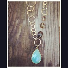 """Smokey Topaz & Framed Aqua Calcedony on 14kt gold filled Circles Necklace, 28"""""""