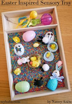Putting together this Easter themed sensory tray is really simple to do. Little ones will love filling up their eggs and pour them back out again. Sensory Bins, Sensory Activities, Sensory Play, Educational Activities, Activities For Kids, Small Cupboard, Plastic Easter Eggs, Painting Plastic, Food Coloring
