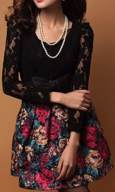 I love this with the lace sleeves and the colourful skirt against all black!!