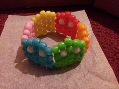 pacman kandi bracelets lots of 4 on Mercari Diy Kandi Bracelets, Pony Bead Bracelets, Pony Beads, Rainbow Choker, Scene Kids, Kandi Patterns, Kawaii Accessories, Bracelet Patterns, Bead Art