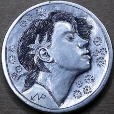 NARIMANTAS PALSIS HOBO NICKEL - NO DATE BUFFALO PROFILE Hobo Nickel, Art Forms, Making Out, Sculpture Art, Buffalo, Cactus, Coins, Miniatures, Carving
