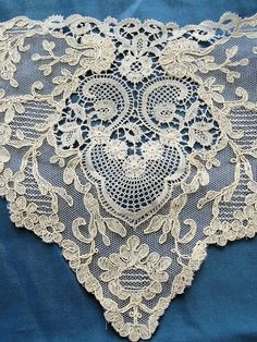 Breathtaking Antique French Netted Tulle Lace Circular Applique Flounce Roses…