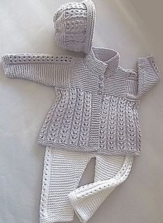 Quick knit baby jacket, hat and matching pants A majestically simple design which is a very quick knit. Jacket is worked in one piece to underarm, bodice is completed in garter stitch, collar can be turned down or worn up, for that extra bit of warmth. Baby Knitting Patterns, Love Knitting, Knitting For Kids, Baby Patterns, Knitting Projects, Hand Knitting, Crochet Patterns, Knitting Charts, Knitting Designs