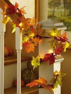 Diy Thanksgiving Decor Leaf Light Garland