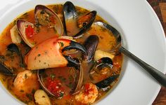 Cioppino. Making this for my Valentine. With a good white wine and crusty bread, we won't be missing the fancy restaurant!