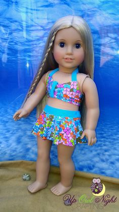 2 piece bathing suit by upowlnightcrafting on Etsy. Made from the Making Waves Swimsuit pattern, available at http://www.pixiefaire.com/products/making-waves-swimsuit-18-doll-clothes. #pixiefaire #makingwavesswimsuit