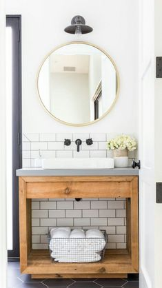 Take a look at these black and white modern farmhouse bathroom ideas! If you need a little farmhouse bathroom decor inspiration, you're about to see a myriad of ways to utilize a classic farmhouse black and white color scheme to it's full advantage. Bathroom Renos, Bathroom Interior, Small Bathroom, Master Bathroom, Bathroom Ideas, Wood Bathroom, Bathroom Organization, Bathroom Designs, Relaxing Bathroom