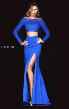 2016 Long Sleeves Jeweled Long Slit Prom Dresses Boat Neckline Royal Two Piece Sherri Hill 50209