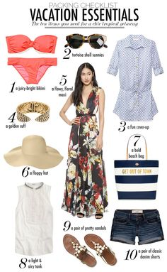 #StylishMonday – If you're jetting off to a tropical destination, Slice has created the perfect packing checklist for you. Check out their list of essentials for a chic sunny vacay, including a bright bikini, classic denim shorts and a floral maxi dress, and soak up some rays in style!
