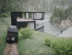 River House on Behance Building A Container Home, Container Buildings, Container House Design, Minimalist Architecture, Amazing Architecture, Modern Architecture, Modern Pool House, Modern Barn House, Weekend House