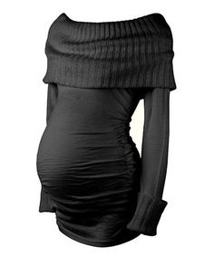 Take a look at this Caviar Black Maternity Off-Shoulder Top by Isabella Oliver on #zulily today! $84.99