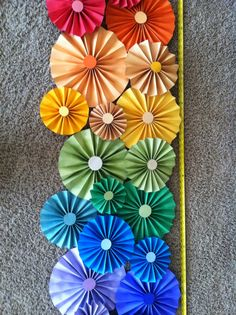 Paper folded flowers for March bulletin board