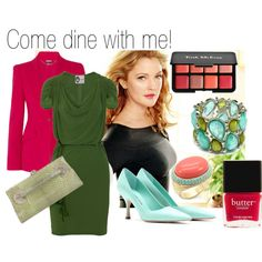 COME DINE WITH ME! by clairecoloursme on Polyvore featuring Lanvin, Alexander McQueen, Jil Sander, Valentino, Fantasy Jewelry Box, Trish McEvoy, Butter London, mint, grey green and drew barrymore