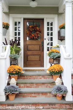 Fall Porch Decorating Ideas - Wreaths, gourds, and vintage touches! I love this welcoming fall porch. Front Porch Steps, Front Porch Planters, Small Front Porches, Fall Planters, Brick Steps, Brick Walkway, Concrete Front Steps, Brick Porch, Front Entrances