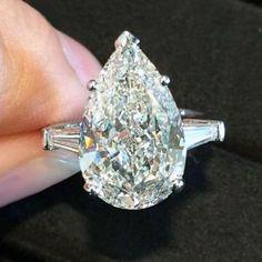 6.50 Ct GIA Pear Shape Diamond Engagement Ring 3 Stone Certified VVS1 Platinum   #DiamondsByElizabeth #3Stone