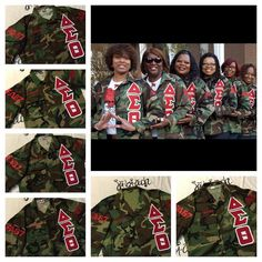 Reunion ready Reds! Check out these lovely ladies of Delta Sigma Theta Sorority, Inc. in their custom Camo Jackets by JBH! Prices start at $95, contact us TODAY for more details: jbhcustomorders@gmail.com #deltasigmatheta #dst #1913 #homecoming2015 #whodoesyourcustoms #jbhgrind