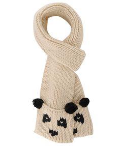 Knitted panda scarf.
