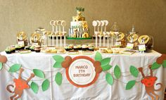 I absolutely love this Safari themed birthday party for kids. Zoo Party Themes, Jungle Party Decorations, Jungle Theme Parties, Party Ideas, Table Decorations, Safari Theme Birthday, Safari Birthday Party, First Birthday Parties, Birthday Ideas