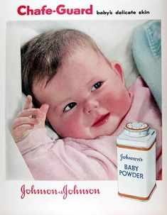 **sigh** none of my grandchildren ever smelled like Johnson & Johnson baby powder. Their modern mothers said their doctors believe all that powder wafting around in the air caused breathing problems. Vintage Advertisements, Vintage Ads, Vintage Prints, Vintage Stuff, Vintage Bottles, Retro Photography, Baby Boy Photos, Baby List, Johnson And Johnson