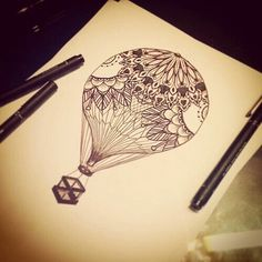 Drawing of hot air balloon tribal art